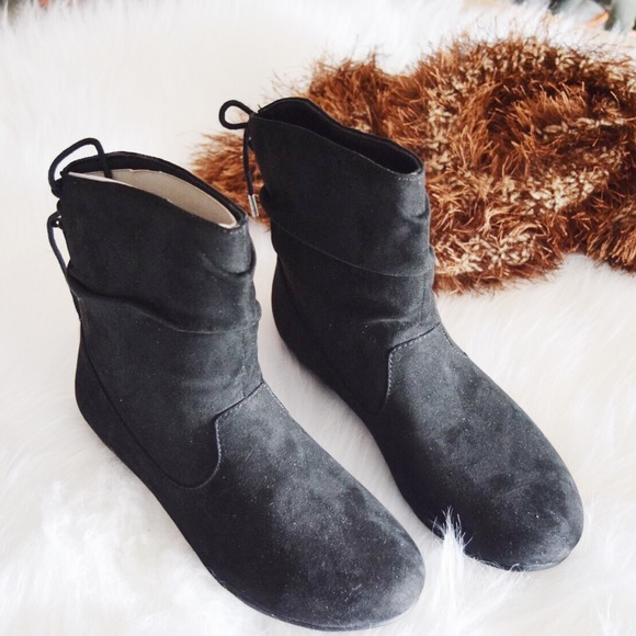 7426503245be5 Women black flat slouchy faux suede Booties Boutique